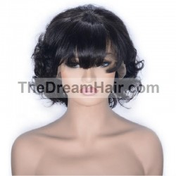 "Lace Front Wig, Fringe, 12"", Color 1 (Jet Black)"