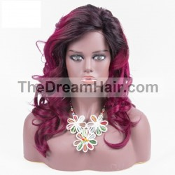 Lace Front Wig, Ombre Color 1B/Red-Purple (Off Black / Red-Purple)