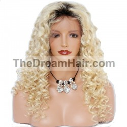 Lace Front Wig, Ombre Color 1B/60 (Off Black / Lightest Blonde)