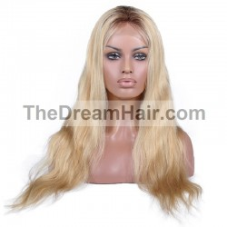 Lace Front Wig, Ombre Color 2/22 (Darkest Brown / Light Pale Blonde)