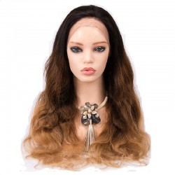 Lace Front Wig, Ombre Color 1B/4/27 (Off Black / Dark Brown / Honey Blonde)