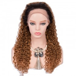 Lace Front Wig, Ombre Color 1B/12 (Off Black / Light Brown)