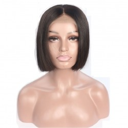 """360° Lace Wig, Short Length, 8"""", Bob Cut, Color #1B (Off Black), Made With Remy Indian Human Hair"""