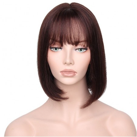"360° Lace Wig, Bob with Fringe, 10"", Color 2 (Darkest Brown)"