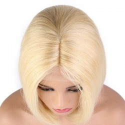 """360° Lace Wig, Short Length, 8"""", Bob Cut, Color #613 (Platinum Blonde), Made With Remy Indian Human Hair"""