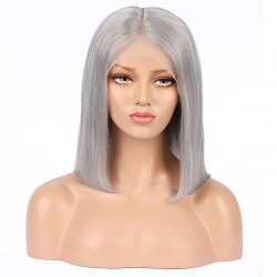 "360° Lace Wig, Bob, 10"", Color Grey (Silver)"