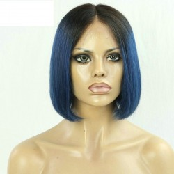 "360° Lace Wig, Bob, 10"", Ombre Color 1B/Blue (Off Black / Blue)"