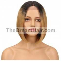 "360° Lace Wig, Bob, 10"", Ombre Color 1B/18 (Off Black / Light Ash Blonde)"