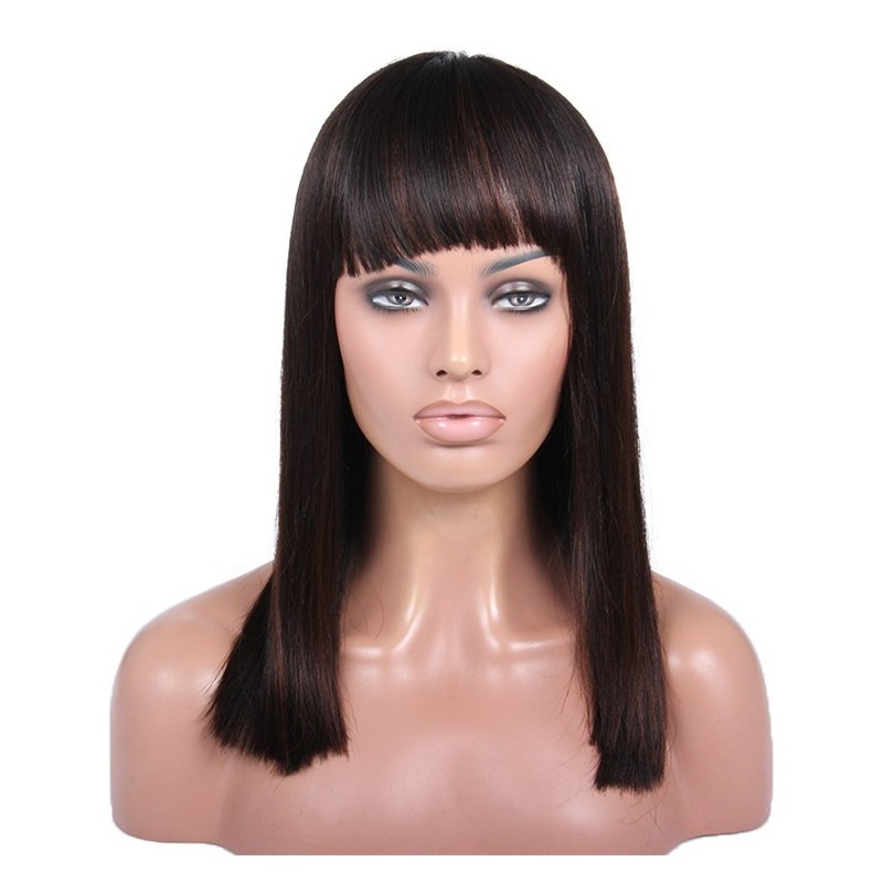 360° Lace Wig, Medium Length, Fringe Cut, Mix Color #1B/4 (Off Black / Dark Brown), Made With Remy Indian Human Hair