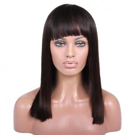 360° Lace Wig, Fringe, Highlight Color 1B/4 (Off Black / Dark Brown)