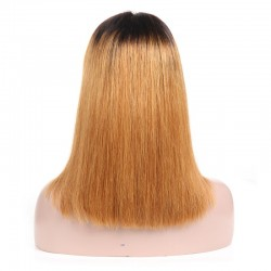 360° Lace Wig, Medium Length, Ombre Color #1B/27 (Off Black / Honey Blonde), Made With Remy Indian Human Hair