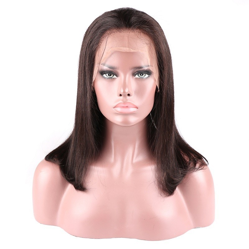 360° Lace Wig, Medium Length, Color #1B (Off Black), Made With Remy Indian Human Hair