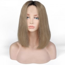 360° Lace Wig, Bob, Ombre Color 1B/16 (Off Black / Medium Ash Blonde)