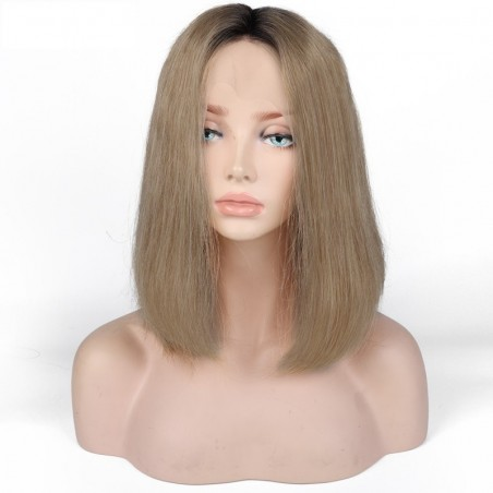 360° Lace Wig, Bob, Ombre Color 1B/16 (Off Black / Medium Ash Blonde)