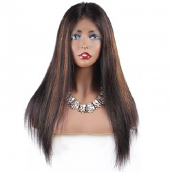 Full Lace Wig, Highlight Color 1B/4/6 (Off Black / Dark Brown / Medium Brown)