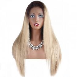 360° Lace Wig, Ombre Color 1B/613 (Off Black / Platinum Blonde)