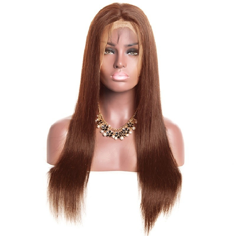 360° Lace Wig, Long Length, Color #4 (Dark Brown), Made With Remy Indian Human Hair