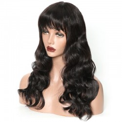 360° Lace Wig, Fringe, Color 1 (Jet Black)