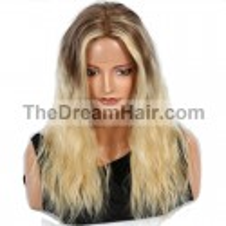 360° Lace Wig, Ombre Color 4/613 (Dark Brown / Platinum Blonde)