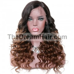 360° Lace Wig, Ombre Color 1B/6 (Off Black / Medium Brown))