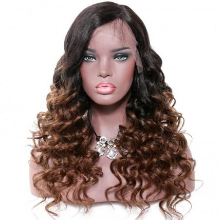 360° Lace Wig, Ombre Color 1B/6 (Off Black / Medium Brown))