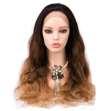 360° Lace Wig, Ombre Color 1B/4/27 (Off Black / Dark Brown / Honey Blonde)