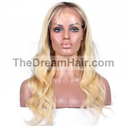 Full Lace Wig, Ombre Color 1B/613 (Off Black / Platinum Blonde)