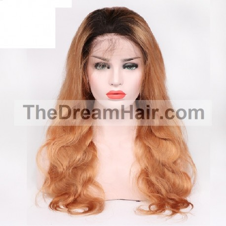 Full Lace Wig, Ombre Color 1B/350 (Off Black / Dark Red Wine)