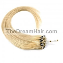 Micro Loop Ring Hair Extensions, Color #22 (Light Pale Blonde), Made With Remy Indian Human Hair