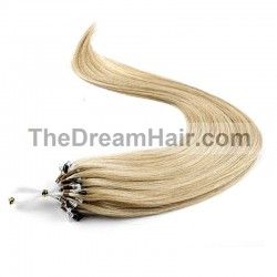 Micro Loop Ring Hair Extensions, Color #18 (Light Ash Blonde), Made With Remy Indian Human Hair