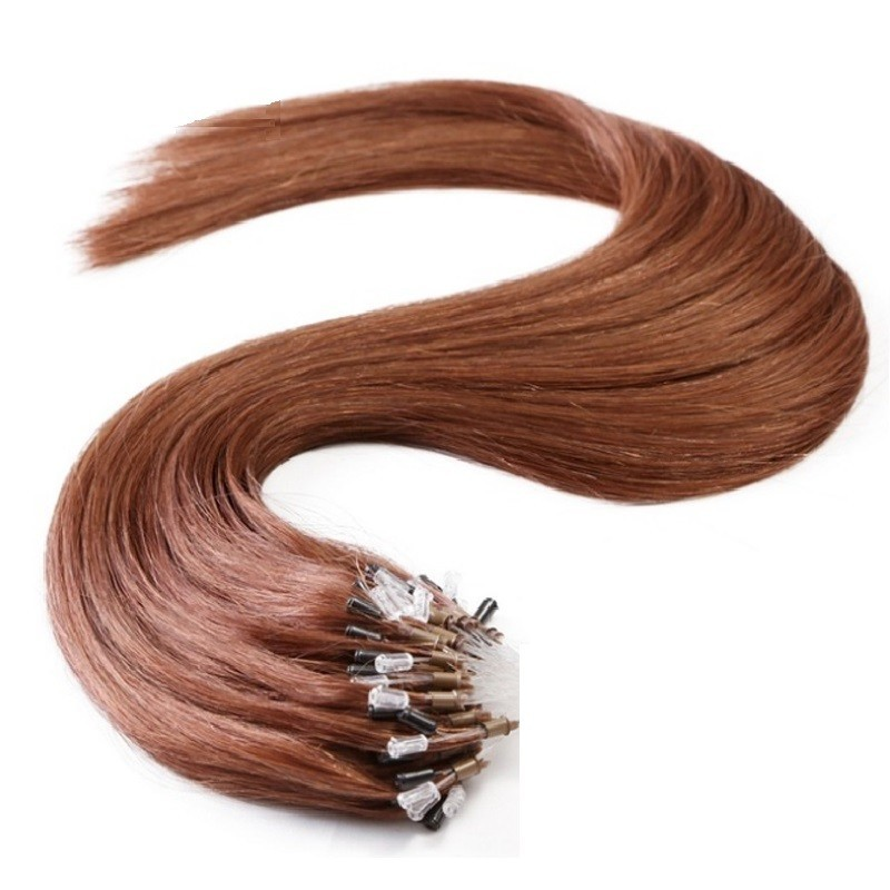Micro Loop Ring Hair Extensions, Color #33 (Auburn), Made With Remy Indian Human Hair