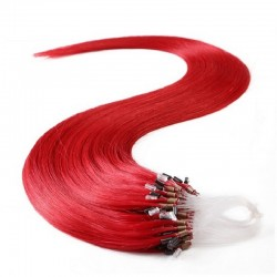 Micro Loop Ring Hair Extensions, Color #Red, Made With Remy Indian Human Hair