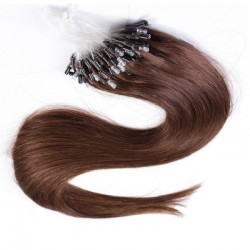 Micro Loop Ring Hair Extensions, Color #4 (Dark Brown), Made With Remy Indian Human Hair