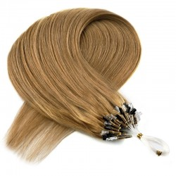 Micro Loop Ring Hair Extensions, Color #10 (Golden Brown), Made With Remy Indian Human Hair