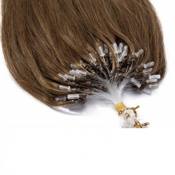 Micro Loop Ring Hair Extensions, Color #6 (Medium Brown), Made With Remy Indian Human Hair