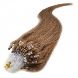 Micro Loop Ring Hair Extensions, Color #8 (Chestnut Brown), Made With Remy Indian Human Hair