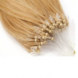 Micro Loop Ring Hair Extensions, Color #24 (Golden Blonde), Made With Remy Indian Human Hair