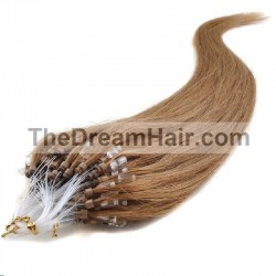 Micro Loop Ring Hair Extensions, Color #12 (Light Brown), Made With Remy Indian Human Hair
