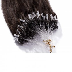 Micro Loop Ring Hair Extensions, Color #2 (Darkest Brown), Made With Remy Indian Human Hair