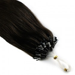 Micro Loop Ring Hair Extensions, Color #1B (Off Black), Made With Remy Indian Human Hair