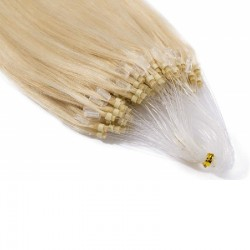 Micro Loop Ring Hair Extensions, Color #613 (Platinum Blonde), Made With Remy Indian Human Hair