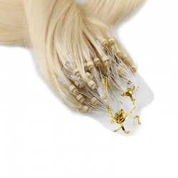 Micro Loop Ring Hair Extensions, Color #60 (Lightest Blonde), Made With Remy Indian Human Hair