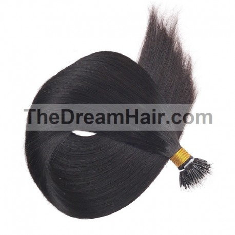 Nano Ring Hair Extensions, Color #1 (Jet Black), Made With Remy Indian Human Hair