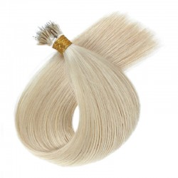 Nano Ring Hair Extensions, Color #60 (Lightest Blonde), Made With Remy Indian Human Hair