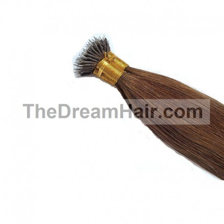 Nano Ring Hair Extensions, Color #4 (Dark Brown), Made With Remy Indian Human Hair