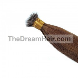 Nano Ring Hair Extensions, Color #8 (Chestnut Brown), Made With Remy Indian Human Hair