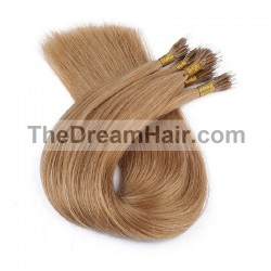 Nano Ring Hair Extensions, Color #12 (Light Brown), Made With Remy Indian Human Hair
