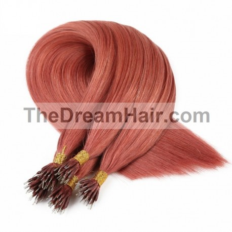 Nano Ring Hair Extensions, Color #35 (Red Rust), Made With Remy Indian Human Hair