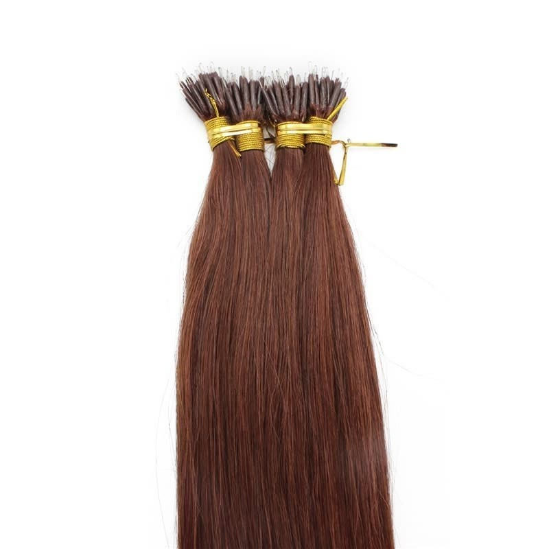 Nano Ring Hair Extensions, Color #33 (Auburn), Made With Remy Indian Human Hair