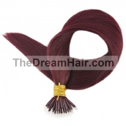 Nano Ring Hair Extensions, Color #99j (Burgundy), Made With Remy Indian Human Hair